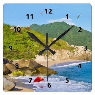 Línea de la playa tropical, Columbia Reloj Cuadrado