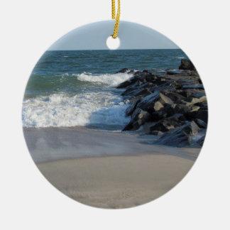 Línea de la playa y faro de Cape May Ornamentos De Reyes Magos