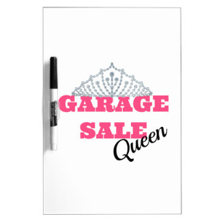 Línea de la reina de la venta de garaje pizarra
