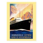 Línea de navegación de Venecia Grecia Estambul Tarjetas Postales