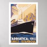 Línea de navegación del vintage anuncio Venecia, G Posters