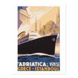 Línea de navegación del vintage anuncio Venecia, Postal
