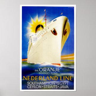 Línea de Nederland del ~ de Oranje Póster