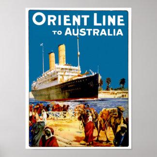 Línea de Oriente a Australia Posters