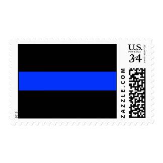 Línea de policía azul fina franqueo