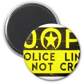 Línea de policía de New Orleans NOPD muestra - neg Imán Redondo 5 Cm