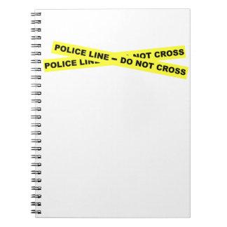 Línea de policía - no cruce libro de apuntes con espiral