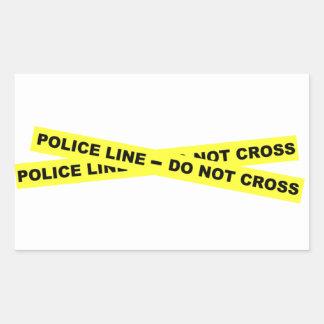 Línea de policía - no cruce pegatina rectangular