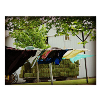 Línea de ropa de Amish y carro del heno Impresiones