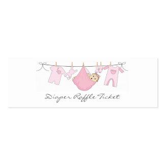 Línea de ropa de la niña rifa del pañal - tarjeta plantilla de tarjeta de visita