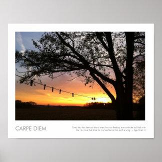 Línea de ropa de la puesta del sol del país fotogr póster