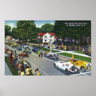 Línea de salida en la raza auto de Grand Prix Poster