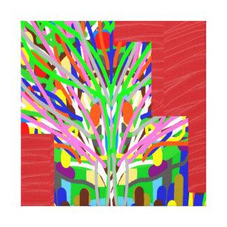 LÍNEA de seda roja tiras de la tela del ARTE: Gráf Impresiones En Lienzo Estiradas