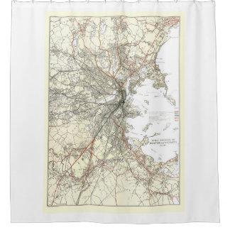 Línea de tránsito de Boston del vintage mapa Cortina De Baño