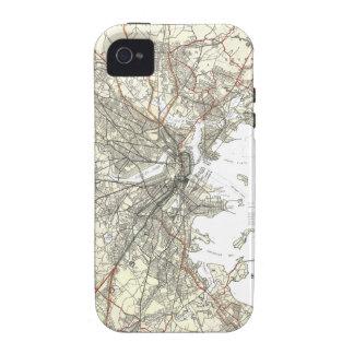 Línea de tránsito de Boston del vintage mapa Case-Mate iPhone 4 Funda