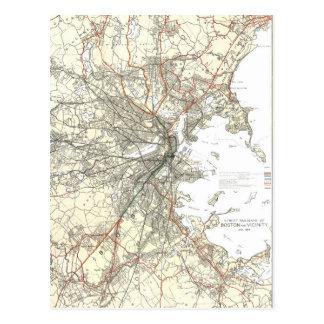 Línea de tránsito de Boston del vintage mapa Postales