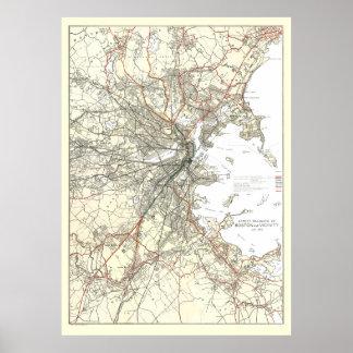 Línea de tránsito de Boston del vintage mapa Póster