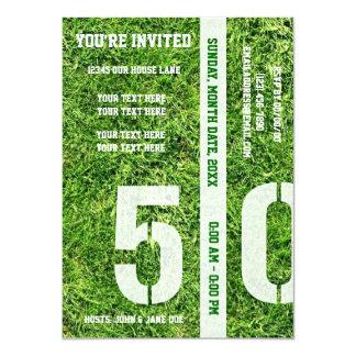 """Línea de yardas 50 - le invitan invitación 4.5"""" x 6.25"""""""