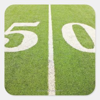 Línea de yardas 50 pegatinas cuadradas