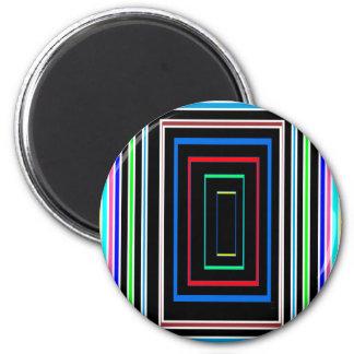 Línea decorativa arte colorido de los gráficos en imán redondo 5 cm