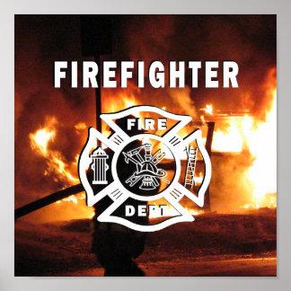 Línea del bombero póster