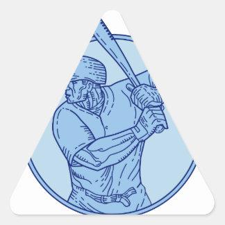 Línea del círculo del bateo del talud del jugador pegatina triangular