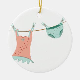 Línea del lavadero adorno redondo de cerámica