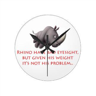 Línea del rinoceronte reloj de pared