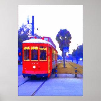 Línea del tranvía del canal coches rojos