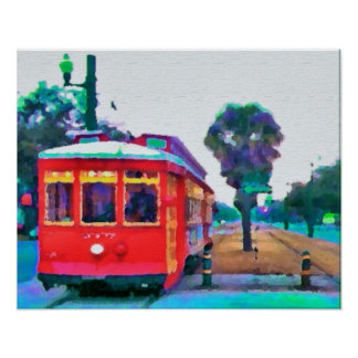 Línea del tranvía del canal, coches rojos, póster