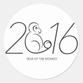Línea dibujo del mono del zodiaco de 2016 chinos pegatina redonda