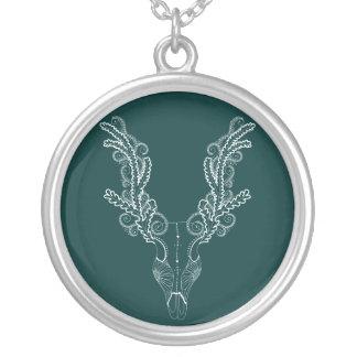 Línea diseño floral del tatuaje de los ciervos del colgante redondo