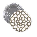 Línea dorada marroquí de mosaico en azulejos pin redondo de 1 pulgada