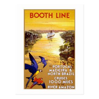 Línea el Amazonas de la cabina del vintage Postales