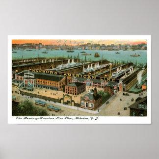 Línea embarcaderos de Hamburgo América Póster