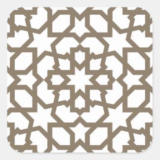 Línea en oro del patrón de mosaico de Marruecos Pegatina Cuadrada
