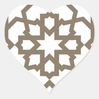 Línea en oro del patrón de mosaico de Marruecos Pegatina En Forma De Corazón
