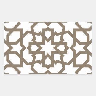 Línea en oro del patrón de mosaico de Marruecos Pegatina Rectangular