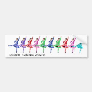 Línea escocesa de la danza de la montaña etiqueta de parachoque