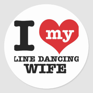 Línea esposa del baile pegatinas redondas