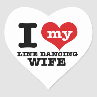 Línea esposa del baile pegatina de corazon personalizadas