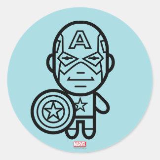 Línea estilizada arte de capitán América Pegatina Redonda