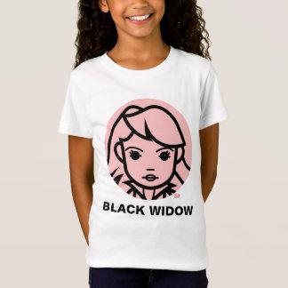 Línea estilizada icono de la viuda negra del arte playera