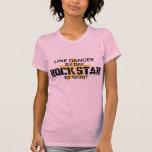 Línea estrella del rock del bailarín por noche camiseta