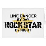 Línea estrella del rock del bailarín por noche felicitaciones
