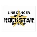 Línea estrella del rock del bailarín por noche postal