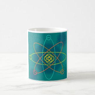 Línea estructura atómica taza de café