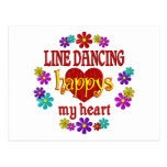 Línea feliz baile tarjeta postal