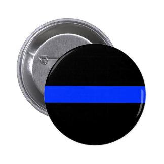 Línea fina azul botón de la policía pin redondo de 2 pulgadas