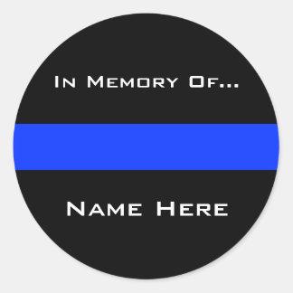 Línea fina azul de la policía etiqueta